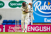 **Caption Correction**Jordan Clark of Surrey of Surrey hits the ball to the boundary for four runs during the Specsavers County Champ Div 1 match between Surrey County Cricket Club and Warwickshire County Cricket Club at the Kia Oval, Kennington, United Kingdom on 23 June 2019.
