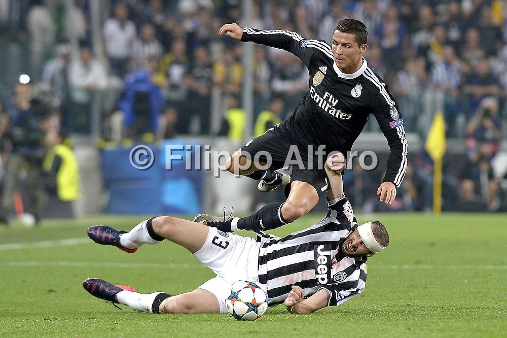 &copy; Filippo Alfero<br /> Juventus-Real Madrid, Champions League 2014/2015<br /> Torino, 05/05/2015<br /> sport calcio<br /> Nella foto: Cristiano Ronaldo e Giorgio Chiellini