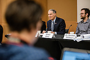 Gov. Jay Inslee visits a Gonzaga journalism class on Feb. 3 to discuss the importance of journalism.  (Gonzaga Photo by Zack Berlat)