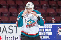 KELOWNA, CANADA - JANUARY 4: Braydyn Chizen #22 of the Kelowna Rockets drops the gloves in first period against the Spokane Chiefs on January 4, 2017 at Prospera Place in Kelowna, British Columbia, Canada.  (Photo by Marissa Baecker/Shoot the Breeze)  *** Local Caption ***