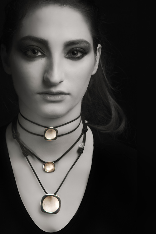 Houston model Federica Ferrari modeling handmade Nano Collection jewelry, by Gerard Harrison, photographer, Image Theory Photoworks.