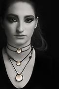 Houston model Federica Ferrari modeling handmade Nano Collection jewelry, by Gerard Harrison, photographer, Image Theory Photoworks.