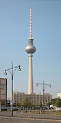 Alexanderplatz seen from Karl Marx Allee, with the Fernsehturm or TV Tower in the distance, built 1965-69 in the former East Berlin, Germany. The tower is 368m tall and the tallest structure in Germany. Picture by Manuel Cohen