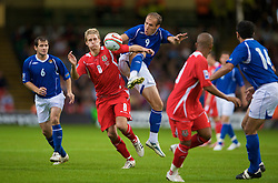 CARDIFF, WALES - Friday, September 5, 2008: Wales' David Edwards and Azerbaijan's Samir Abbasov during the opening 2010 FIFA World Cup South Africa Qualifying Group 4 match at the Millennium Stadium. (Photo by David Rawcliffe/Propaganda)