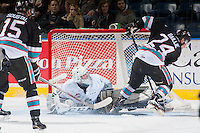 KELOWNA, CANADA - NOVEMBER 25: Logan Flodell #31 of Seattle Thunderbirds makes a second period save on a shot from Tyson Baillie #24 of the Kelowna Rockets on November 25, 2015 at Prospera Place in Kelowna, British Columbia, Canada.  (Photo by Marissa Baecker/Getty Images)  *** Local Caption *** Logan Flodell; Tyson Baillie;