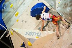 Adam Ondra (CZE) during men final competition of IFSC Climbing World Cup Kranj 2014, on November 16, 2014 in Arena Zlato Polje, Kranj, Slovenia. (Photo By Grega Valancicr / Sportida.com)