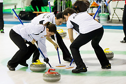 Players of Spain during curling match between National teams of Austria and  Spain in 6th Round of European Curling Championship on April 29, 2016 in Ledena dvorana Zalog, Ljubljana, Slovenia. Photo By Urban Urbanc / Sportida