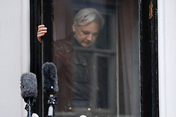 © Licensed to London News Pictures. 19/05/2017. London, UK.      JULIAN ASSANGE speaking from the Ecuadoran embassy in London where the Wikileaks founder has been living since 2012.     Today the Swedish authorities have announced that they are dropping their investigation into rape allegations against him. Photo credit: Ray Tang/LNP