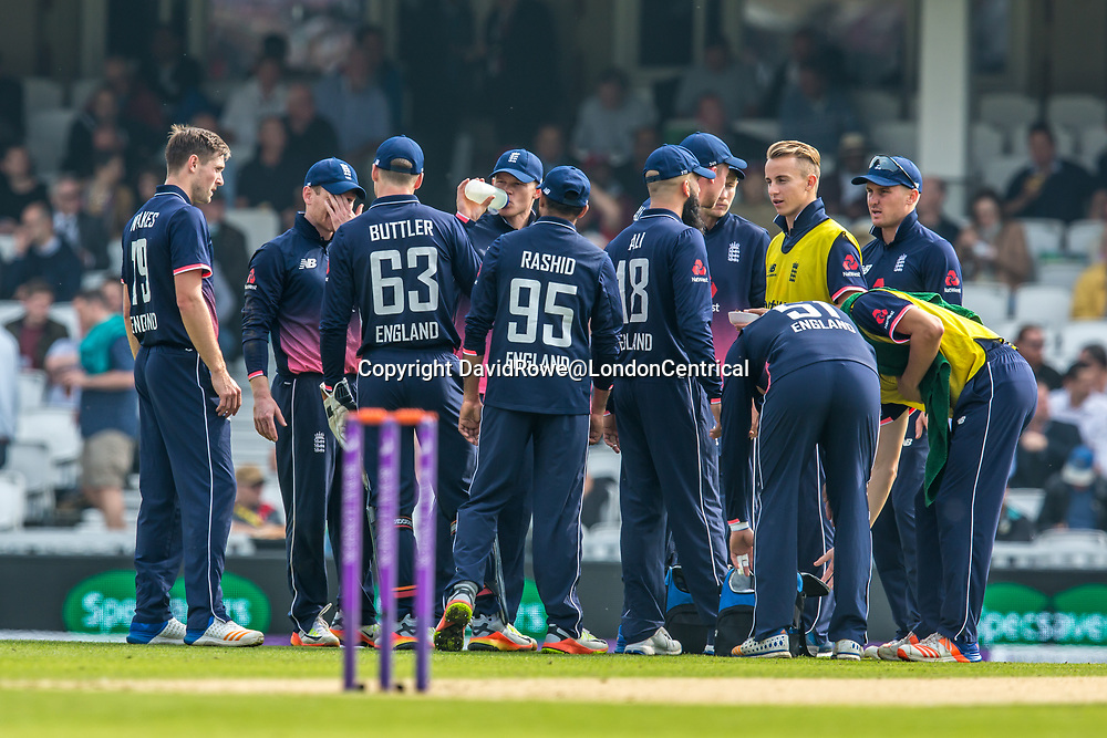 London,UK. 27 September 2017. An early drinks break for England. England v West Indies. In the fourth Royal London One Day International at the Kia Oval.