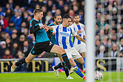 Beram Kayal (Brighton) attempt at goal marked by Sam Field (West Brom) during the FA Cup fourth round match between Brighton and Hove Albion and West Bromwich Albion at the American Express Community Stadium, Brighton and Hove, England on 26 January 2019.