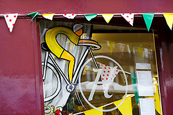 Window decoration along the Stage 1 route in Otley - Photo mandatory by-line: Rogan Thomson/JMP - 07966 386802 - 04/07/2014 - SPORT - CYCLING - Yorkshire - Le Tour de France Grand Depart Previews.