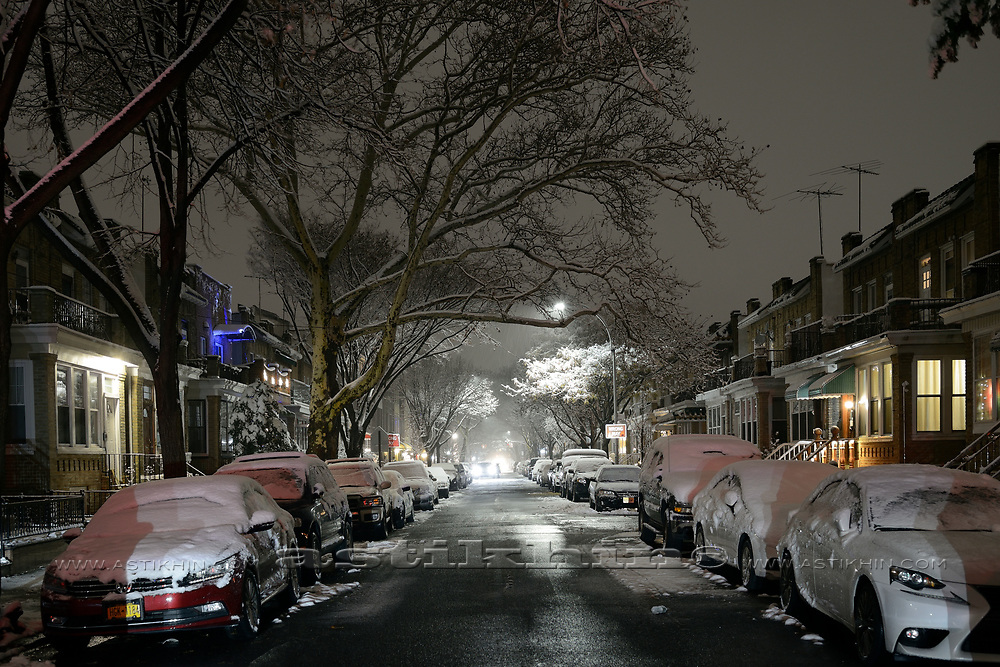 Street of a night city. First snow on the trees. Wet road reflects the night lights in Brooklyn.