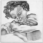 Graphite drawing detail study of Michelangelo's Holy Family (Doni Tondo) painting.