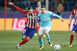 15-03-2016 ESP, UEFA CL, Atletico Madrid - PSV Eindhoven, Madrid<br /> Atletico de Madrid's Yannick Carrasco (l) and PSV Eindhoven's Santiago Arias // during the UEFA Champions League Round of 16, 2nd Leg match between Atletico Madrid and PSV Eindhoven at the Estadio Vicente Calderon in Madrid, Spain on 2016/03/15. <br /> <br /> ***NETHERLANDS ONLY***