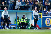 Carlisle manager John Sheridan looks on as his assistant coach Tommy Wright gives the instructions during the EFL Sky Bet League 2 match between Carlisle United and Crewe Alexandra at Brunton Park, Carlisle, England on 25 August 2018.