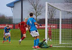KIRKBY, ENGLAND - Wednesday, November 27, 2019: Liverpool's Luis Longstaff scores the fifth goal during the UEFA Youth League Group E match between Liverpool FC Under-19's and SSC Napoli Under-19's at the Liverpool Academy. (Pic by David Rawcliffe/Propaganda)