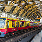 The interior of the Alexander Platz train station in Berlin, Germany.