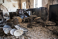 Satellite dishes are destroyed under ISIS domination.
