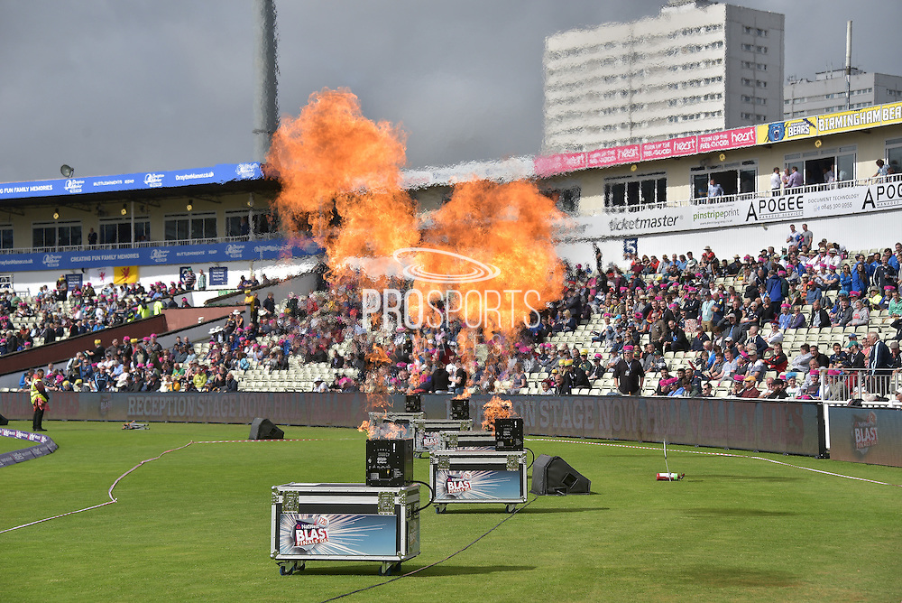 Blast off at the start of the NatWest T20 Finals Day 2016 match between Nottinghamshire County Cricket Club and Northamptonshire County Cricket Club at Edgbaston, Birmingham, United Kingdom on 20 August 2016. Photo by Simon Trafford.
