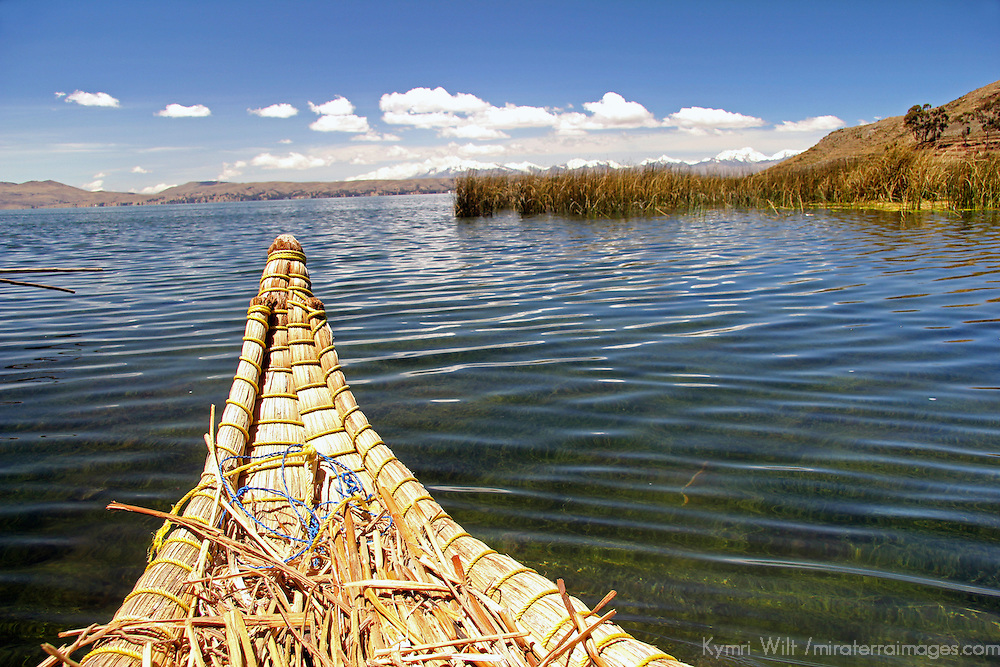 South America, Bolivia, Lake Titicaca. Reed boat of floating reed islands of Lake Titicaca.