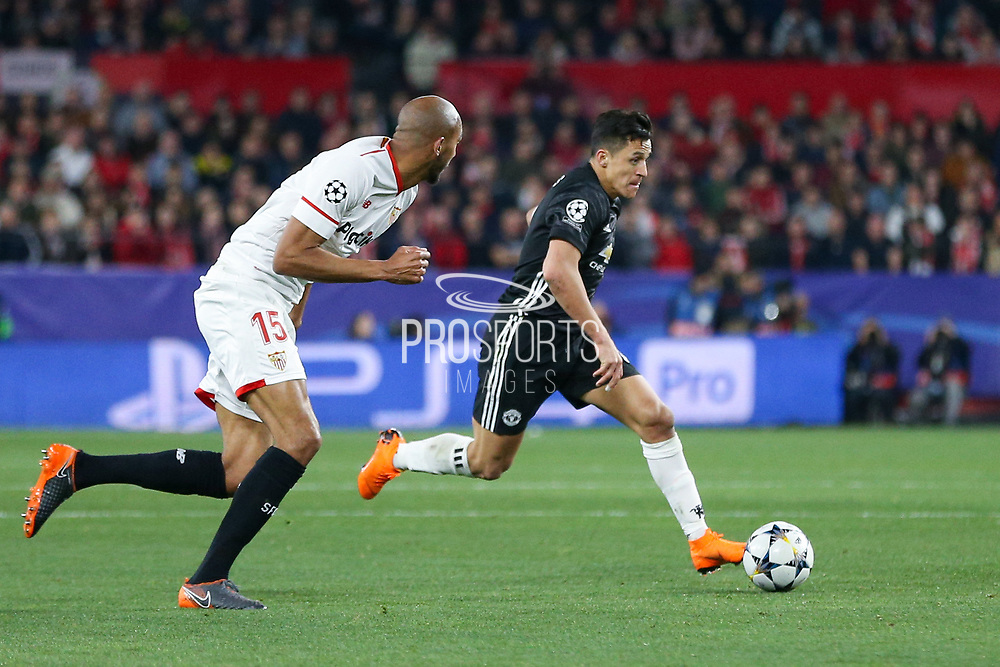 Manchester United Forward Alexis Sanchez battles with Sevilla midfielder Steven N'Zonzi (15) during the Champions League match between Sevilla and Manchester United at the Ramon Sanchez Pizjuan Stadium, Seville, Spain on 21 February 2018. Picture by Phil Duncan.