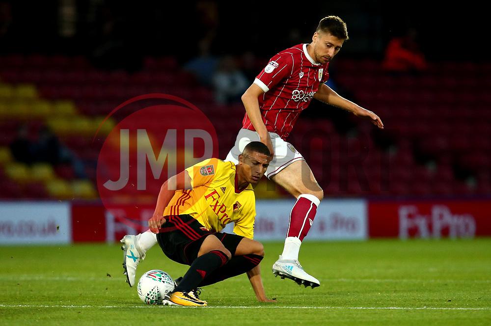 (Caption Correction) Jens Hegeler of Bristol City tackles Richarlison of Watford - Mandatory by-line: Robbie Stephenson/JMP - 22/08/2017 - FOOTBALL - Vicarage Road - Watford, England - Watford v Bristol City - Carabao Cup