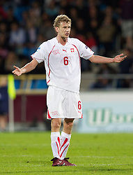 AALBORG, DENMARK - Saturday, June 11, 2011: Switzerland's Fabian Lustenberger (Hertha BSC Berlin) in action against Denmark during the UEFA Under-21 Championship Denmark 2011 Group A match at the Aalborg Stadion. (Photo by Vegard Grott/Propaganda)