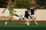 Forest Green Rovers Christian Doidge(9) shoots at goal shot is blocked during the Pre-Season Friendly match between SC Farense and Forest Green Rovers at Estadio Municipal de Albufeira, Albufeira, Portugal on 25 July 2017. Photo by Shane Healey.
