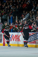 KELOWNA, CANADA - JANUARY 3: Aaron Macklin #17 and Brad Morrison #9 of Prince George Cougars celebrate a goal against the Kelowna Rockets on January 3, 2015 at Prospera Place in Kelowna, British Columbia, Canada.  (Photo by Marissa Baecker/Shoot the Breeze)  *** Local Caption *** Aaron Macklin; Brad Morrison;