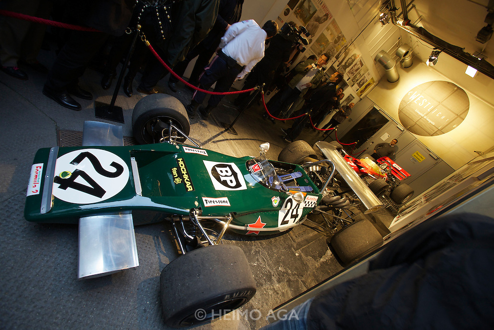 "Vienna. Opening of the Exhibition ""Jochen Rindt - Formula 1's first Pop Star"" at Galerie Westlicht. Lotus 69/4 Formel 2, in which Jochen Rindt drove his last race at Salzburgring."