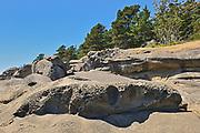 Rocky shoreline along Narvaez Bay, Saturna Island, British Columbia, Canada