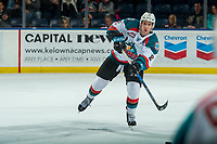 KELOWNA, CANADA - JANUARY 5: James Hilsendager #2 of the Kelowna Rockets passes the puck against the Seattle Thunderbirds on January 5, 2017 at Prospera Place in Kelowna, British Columbia, Canada.  (Photo by Marissa Baecker/Shoot the Breeze)  *** Local Caption ***