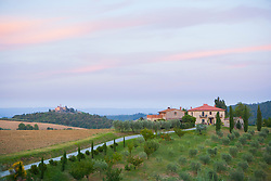 Europe, Italy, Tuscany, Volterra, Stone Farm houses, hotel and orchard