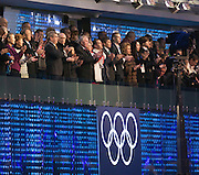 07.02.2014. Sochi, Russia.  Opening Ceremonies for the XXII Olympic Winter Games Sochi 2014. FISHT Stadium, Adler/Sochi, Russia. President Vladmir Putin and IOC President Jacques Rogge watching the ceremony