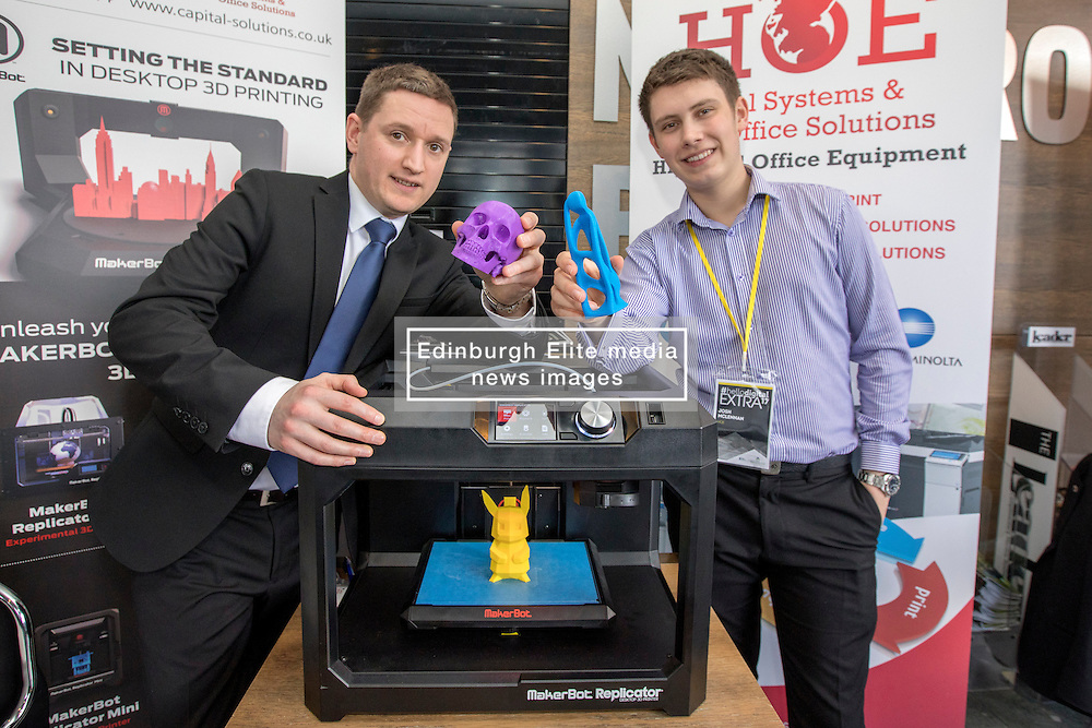 #hellodigital Extra 2017 event, held at Eden Court in Inverness.<br /> <br /> Pictured L-R: George Lowe (HOE Digital) and Josh McLennan (HOE Digital) with a desktop 3D printer<br /> <br /> Malcolm McCurrach | EEm | Mon, 20, February, 2017