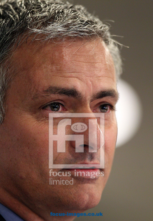 Picture by Paul Terry/Focus Images Ltd +44 7545 642257<br /> 10/06/2013<br /> Jose Mourinho talks during a press conference at Stamford Bridge, London.