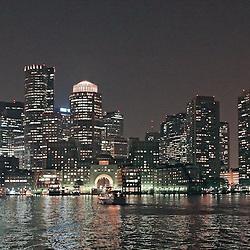 Boston harbor skyline at dusk, Boston, MA