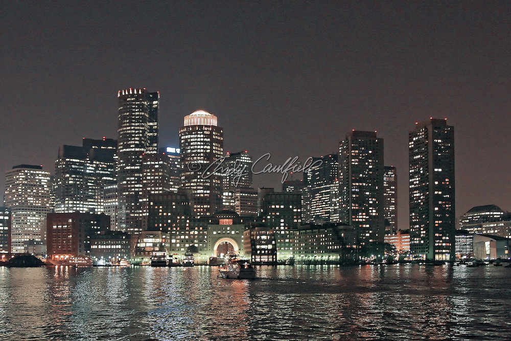 Boston harbor skyline at dusk, Boston, MA