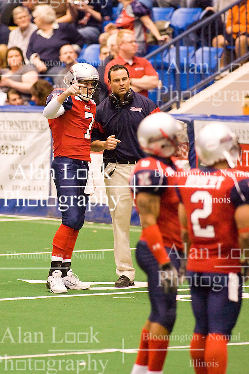 14 March 2009: Mitch Tanney discusses the next play with head coach Kenton Carr. The Sioux Falls Storm were hosted by the Bloomington Extreme in the US Cellular Coliseum in downtown Bloomington Illinois.