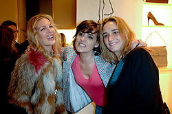 Left to right, PRISCILLA WATERS, INES DE LA FRESSANGE and SOPHIE GACHET at a party to celebrate the publication of 'Parisian Chic: A Style guide' by Ines de La Fressange held at Roger Vivier, Sloane Street, London on 5th Apreil 2011.