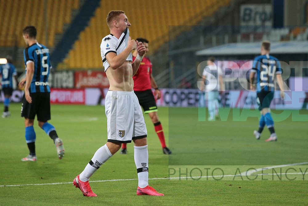 Parma Calcio's Swedish midfielder Dejan Kulusevski reacts after missing the target during the Serie A match at Stadio Ennio Tardini, Parma. Picture date: 28th June 2020. Picture credit should read: Jonathan Moscrop/Sportimage
