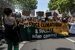 May 24, 2019 - Paris, France - About 15,000 young students demonstrated on Friday, May 24, 2019 in the streets of Paris as part of the second day of the global youth strike for the climate. On this occasion, the young people want to put pressure on the political class in the face of the climate emergency, so they marched in procession with many signs carrying often humorous emergency messages. (Credit Image: © Samuel Boivin/NurPhoto via ZUMA Press)