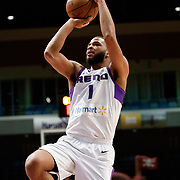 Reno Bighorns Guard AARON HARRISON (1) shoots during the NBA G-League Basketball game between the Reno Bighorns and the Oklahoma City Blue at the Reno Events Center in Reno, Nevada.