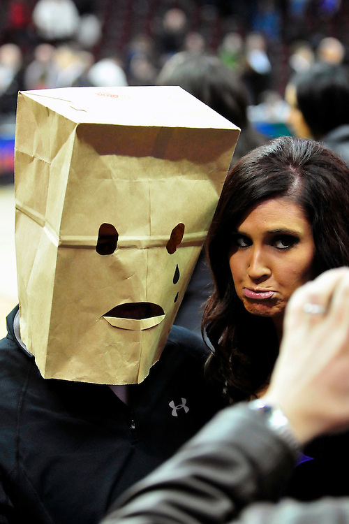 Feb. 5, 2011; Cleveland, OH, USA; A Cleveland Cavaliers fan adorns a bag over his head after the Cavaliers lost their 24th consecutive game to the Portland Trail Blazers at Quicken Loans Arena. The Trail Blazers beat the Cavaliers 111-105. Mandatory Credit: Jason Miller-US PRESSWIRE