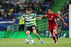 November 22, 2017 - Lisbon, Portugal - Sporting's defender Tobias Figueiredo from Portugal  (L) vies with Olympiacos' Colombian midfielder Felipe Pardo during the UEFA Champions League group D football match Sporting CP vs Olympiacos FC at Alvalade stadium in Lisbon, Portugal on November 22, 2017. Photo: Pedro Fiuza  (Credit Image: © Pedro Fiuza/NurPhoto via ZUMA Press)