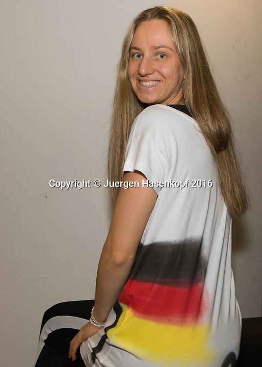 Ladies Linz Players Party, MONA BARTHEL (GER) traegt ein Tshirt mit aufgespruehter Deutschland Fahne,<br /> <br /> Tennis - Ladies Linz Players Party - WTA -  TipsArena - Linz - Oberoesterreich - Oesterreich  - 10 October 2016. <br /> &copy; Juergen Hasenkopf