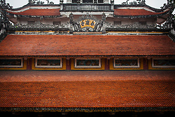 Graphic image of a temple roof in Hanoi, Vietnam, Southeast Asia