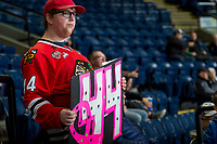 KELOWNA, CANADA - OCTOBER 21: A Portland Winterhawks' fan shows support for Cancer on Pink the Rink night at the Kelowna Rockets on October 21, 2017 at Prospera Place in Kelowna, British Columbia, Canada.  (Photo by Marissa Baecker/Shoot the Breeze)  *** Local Caption ***
