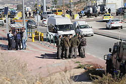December 8, 2016 - Nablus, West Bank, Palestinian Territory - Israeli forces stand near the scene where Israeli paramilitary police officers shot and killed a Palestinian who Israeli police said ran toward them brandishing a knife, near the Israeli Tapouh junction south of the West Bank city of Nablus December 8, 2016  (Credit Image: © Nedal Eshtayah/APA Images via ZUMA Wire)