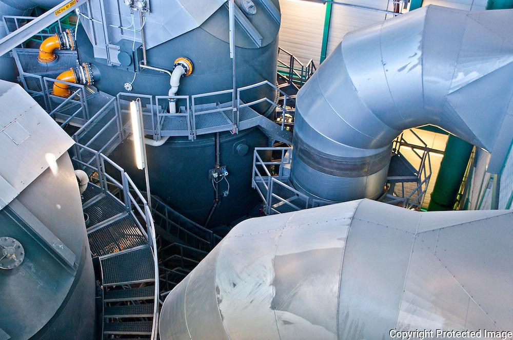 Incineration power plant in Zürich, Switzerland.  Flue gas treatment plant.